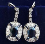 Stunning 18ct 18k and platinum art deco 2.70ct sapphire and diamond vintage antique cluster earrings